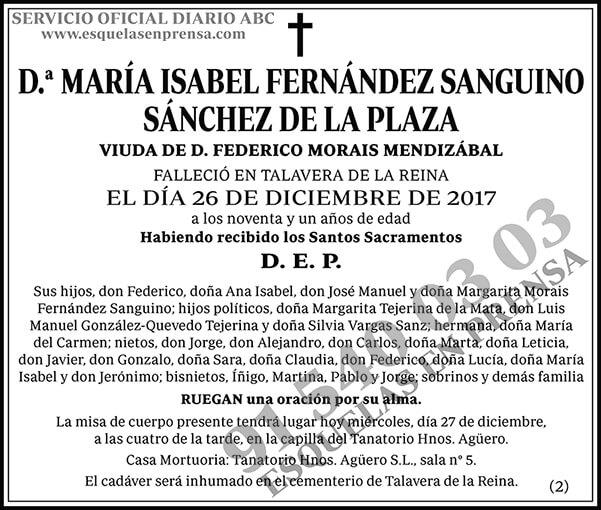 María Isabel Fernández Sanguino Sánchez de la Plaza